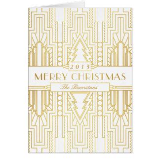 Art Deco Gold Leaf Merry Christmas Card