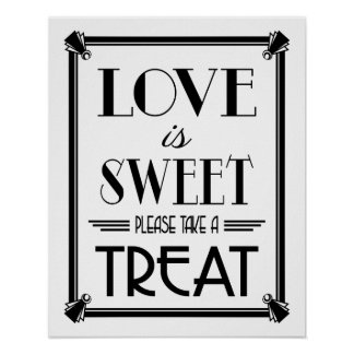 Art Deco GOLD LOVE IS SWEET B/G colour change Poster