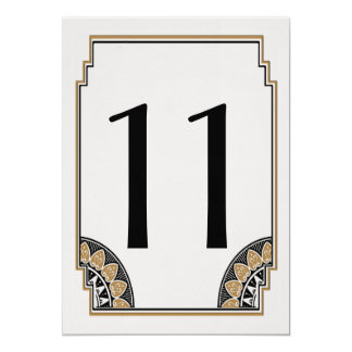 Art Deco Gold Posh Table Number 11 Card