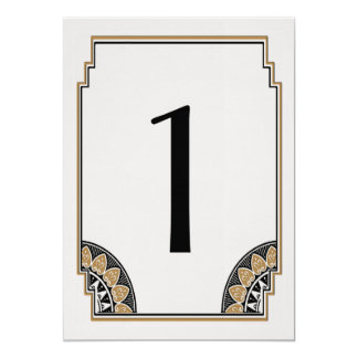 Art Deco Gold Posh Table Number 1 Card