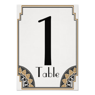 Art Deco Gold Posh Table Number Card