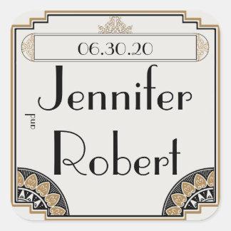 Art Deco Gold Posh Wedding Envelope Seal Square Sticker