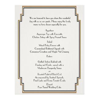 Art Deco Gold Posh Wedding Menu 21.5 Cm X 28 Cm Flyer