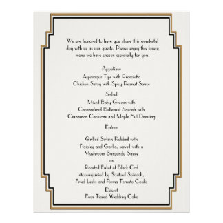 Art Deco Gold Posh Wedding Menu 21.5 Cm X 28 Cm Flyer