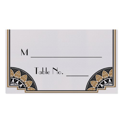 Art Deco Gold Posh Wedding Place Cards Business Card
