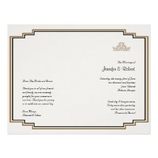 Art Deco Gold Posh Wedding Program 21.5 Cm X 28 Cm Flyer