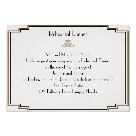 Art Deco Gold Posh Wedding Rehearsal Card