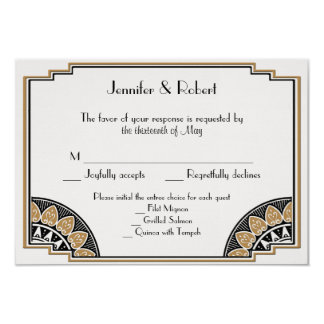 Art Deco Gold Posh Wedding Response Card