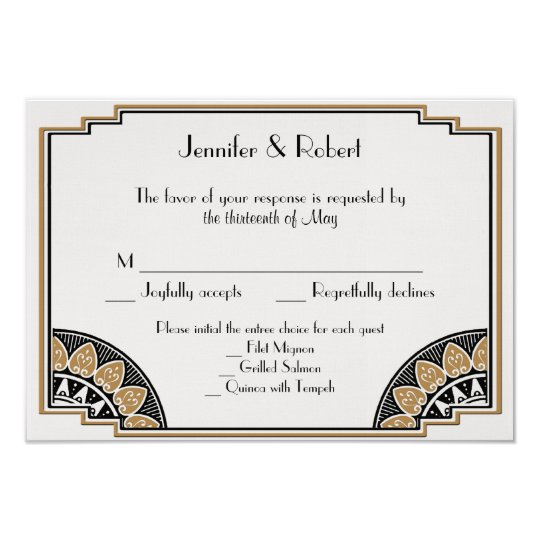 Art Deco Gold Posh Wedding Response Card