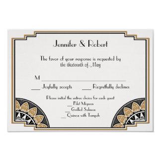 Art Deco Gold Posh Wedding Response Card 9 Cm X 13 Cm Invitation Card