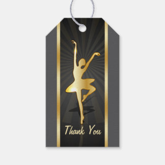 Art Deco, gold silhouette ballerina Thank You Gift Tags