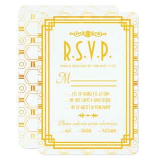 Art Deco Gold Wedding Response Cards