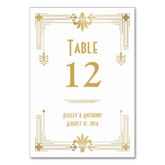 Art Deco Gold White Roaring 20s Wedding Table Cards