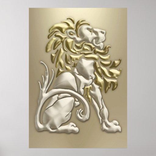 Art Deco Golden Lion Posters