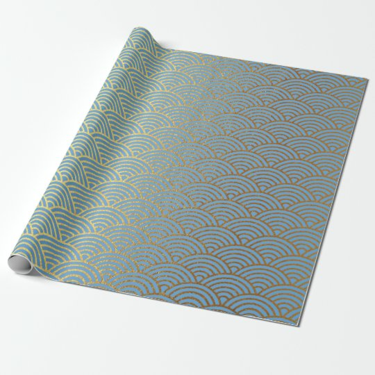 Art Deco Golden Waves Blue Pastel Vip Wrapping