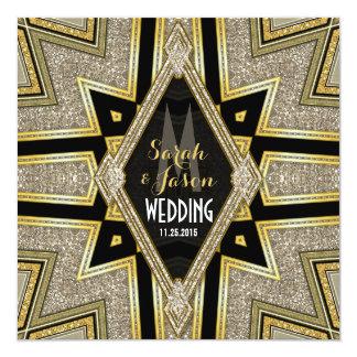 Art Deco Goldy Diamonds Wedding Invitations