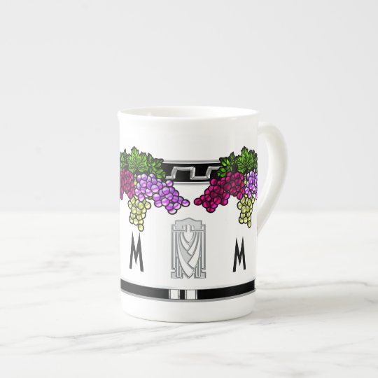 Art Deco Grapes - Monogrammed (Bone China Mug)