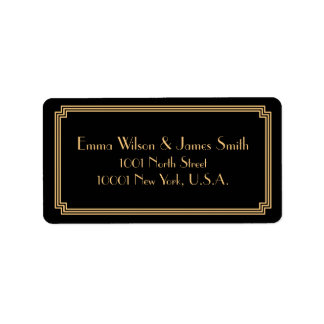 Art Deco Great Gatsby Black Gold Address Labels