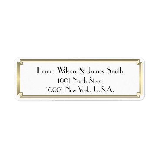 Art Deco Great Gatsby Gold Return Address Labels