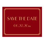 Art Deco Great Gatsby Red Save The Date Postcard