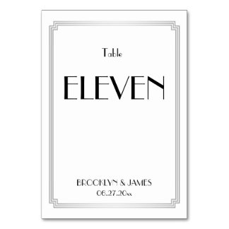 Art Deco Great Gatsby Silver Wedding Table Numbers Table Cards