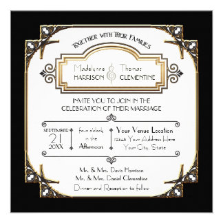 Art Deco Great Gatsby Style Typography n Lace Gold Invitation
