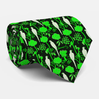 ART DECO GREEN FLOWERS,WHITE PARROTS ON BLACK TIE