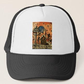 Art Deco Greetings Christmas Cottage Design Trucker Hat