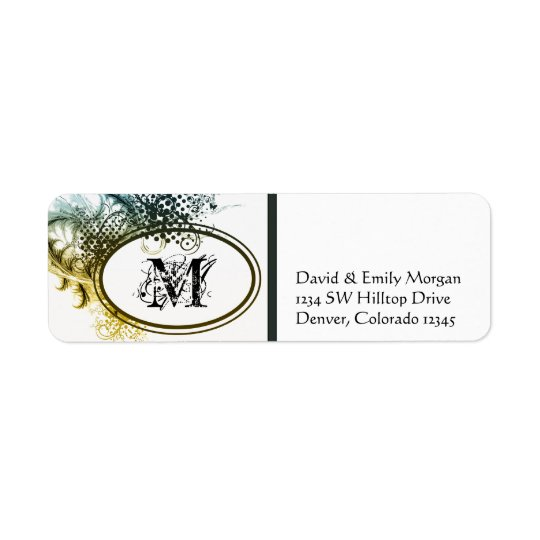 Art Deco Grunge Monogram Address Labels