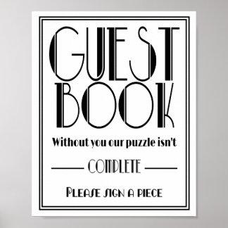 "Art Deco ""Guest Book Puzzle"" Wedding party print"