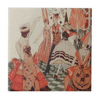 Art Deco Halloween Party Black Cat Pumpkin Tile