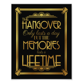 Art deco hangover party sign wedding sign, gold photo print