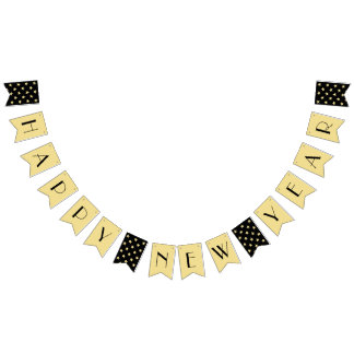 Art Deco Happy New Years Eve Party Black Faux Gold Bunting