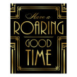 Art Deco HAVE A ROARING GOOD TIME Sign Print