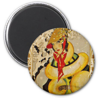 Art Deco Holiday Greeting 6 Cm Round Magnet