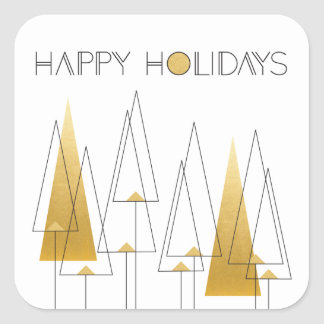 Art Deco Holiday Trees Square Sticker