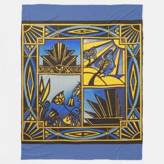Art Deco in Blue Large blanket