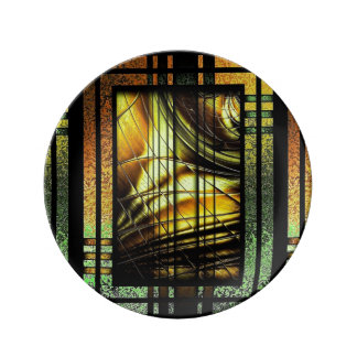 Art Deco In Green And Gold Porcelain Plate