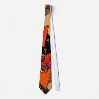ART DECO IN ORANGE AND BLAQCK TIE
