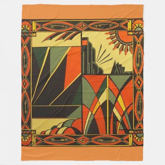 Art Deco in Orange Large blanket