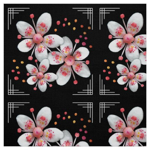 Art Deco-ish Apple Blossoms - White, Pink on
