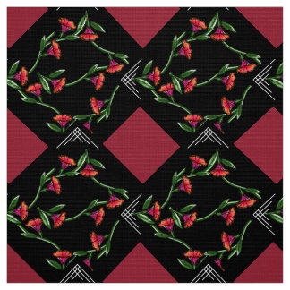 Art Deco-ish Trumpet Vines on Point Fabric