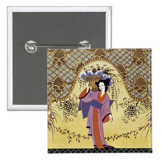 Art Deco Japanese Lady in Kimono 15 Cm Square Badge