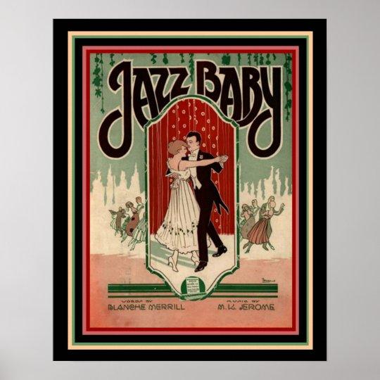 "Art Deco ""Jazz Baby "" Sheet Music Poster"