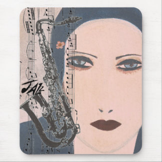Art Deco Jazz Lady With Saxophone Mouse Mat