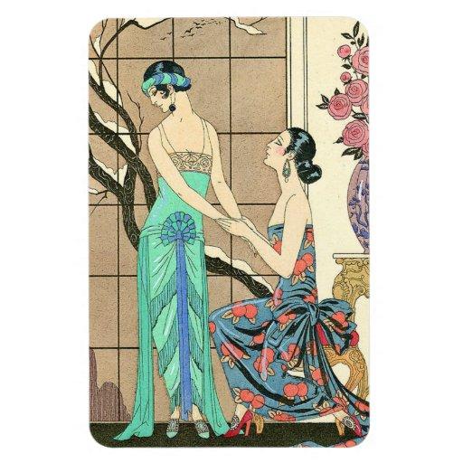 Art Deco Ladies By the Window Vinyl Magnet