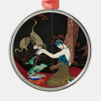 Art Deco Lady and Storks Silver-Colored Round Decoration