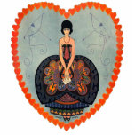 Art Deco Lady Heart Photo Cutout