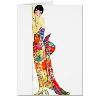 Art Deco Lady in formal Gown Card