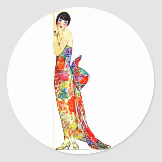 Art Deco Lady in formal Gown Classic Round Sticker